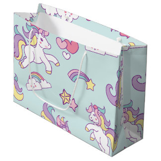 Cute Magical Unicorn Pastel color Personalized Large Gift Bag