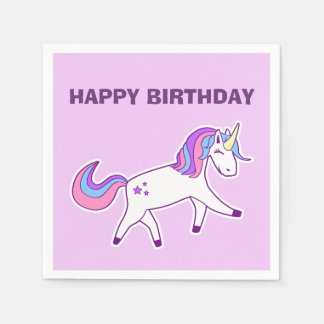 Cute Magical Unicorn Pink Happy Birthday Napkin