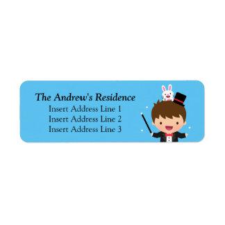Cute Magician Boy and Magic Bunny Return Address Label