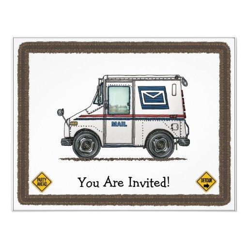 Cute Mail Truck Custom Invitation