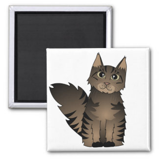 Cute Maine Coon Cat Cartoon - Brown Tabby Square Magnet