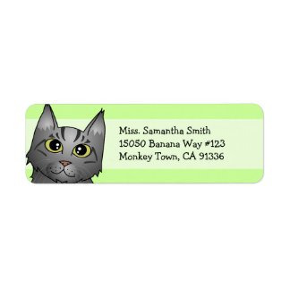 Cute Maine Coon Cat Cartoon - Silver Tabby