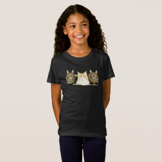 Cute Maine Coon Cats Modern Art Girl's T-Shirt