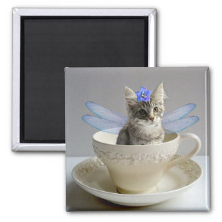 Cute Maine Coon kitten cat fairy square magnet