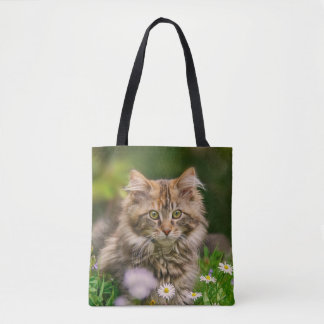 Cute Maine Coon Kitten Cat Flower Meadow - Shopper Tote Bag