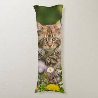 Cute Maine Coon Kitten Cat in Flower Meadow cuddly Body Pillow