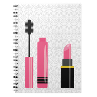 Cute Makeup Pink Lipstick And Mascara Notebook
