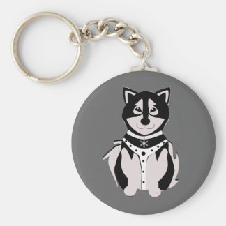 Cute Malamute Sled Dog In Harness Basic Round Button Keychain