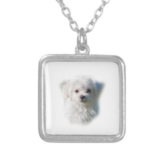 Cute Maltese Dog Silver Plated Necklace