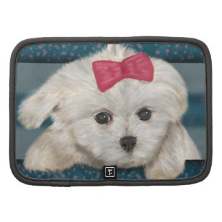 Cute Maltese Dog with Creme Fur and Red Ribbon Folio Planner