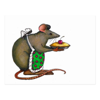 Cute Mama Rat With Pie: Drawing: Color Pencil Postcard