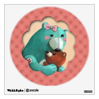 Cute Mamma Teddy Bear with her Baby Wall Sticker
