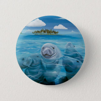 Cute Manatee Button Round