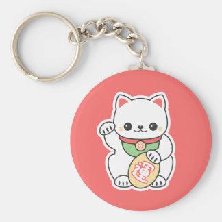 Cute Maneki Neko Basic Round Button Keychain
