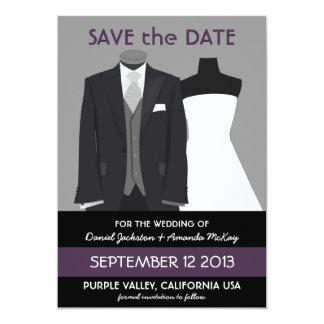 Cute Mannequin Save the Date Purple Wedding Card