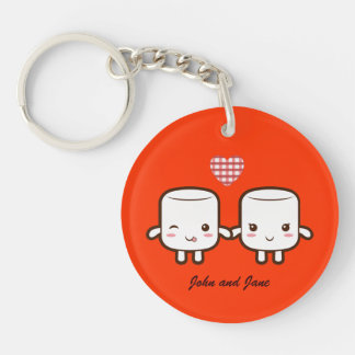 Cute Marshmallow couple Keychain