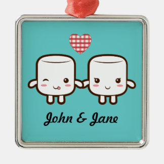 Cute Marshmallow couple Silver-Colored Square Ornament