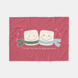 Cute Marshmallow Love Winter Holiday Blanket