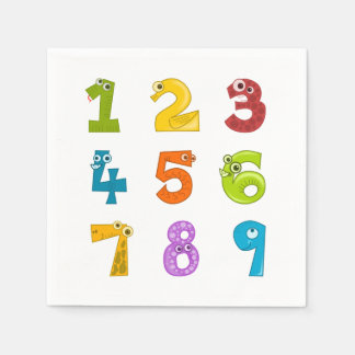 Cute math numbers disposable napkins