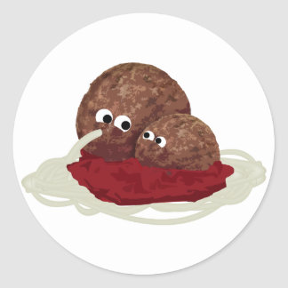 Cute Meatball Eating Spaghetti Classic Round Sticker