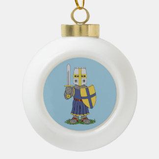 Cute Medieval Knight Ceramic Ball Christmas Ornament
