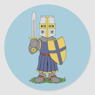 Cute Medieval Knight Round Sticker