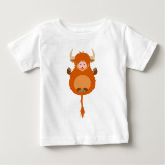 Cute Meditating Cartoon Highland Cow Baby T-Shirt