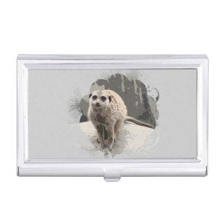 Cute Meerkat Posing Wild Animals Gray Business Card Holder