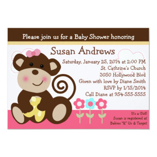 Cute Melanie Monkey Baby Shower Invititation Card