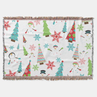 Cute Melting Snowman Funky Christmas Trees Throw Blanket