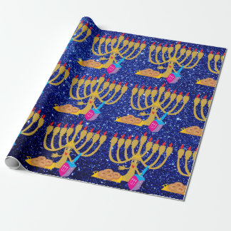 Cute Menorah & Dreidels Blue Faux Glitter Hanukkah Wrapping Paper