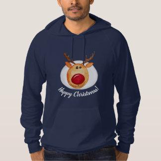 Cute Men's Watercolor Rudolph Happy Christmas Hoodie