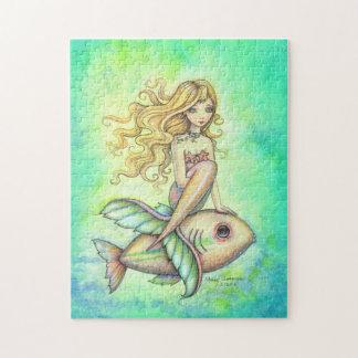 Cute Mermaid and Fish Fantasy Art Jigsaw Puzzle