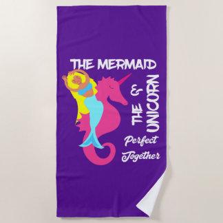 Cute Mermaid And Unicorn Fantasy Nautical Beach Towel