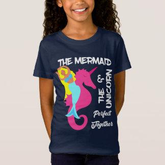 Cute Mermaid  And  Unicorn Fantasy Nautical Design T-Shirt