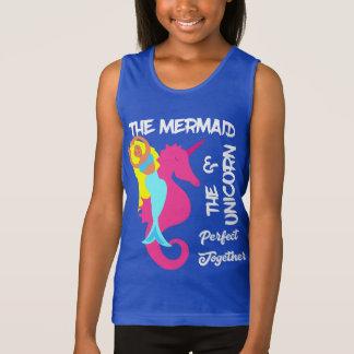 Cute Mermaid  And  Unicorn Fantasy Nautical Design Tank Top
