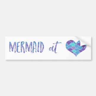 Cute Mermaid at Heart Bumper Sticker