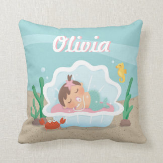 Cute Mermaid Baby Girl Nursery Decor Throw Pillow