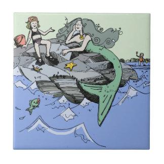 Cute Mermaid Beach Child Tile