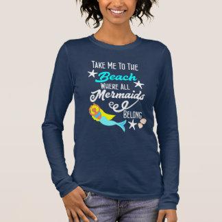 Cute Mermaid  Beach Themed slogan Graphic Long Sleeve T-Shirt
