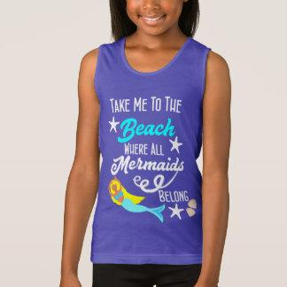 Cute Mermaid  Beach Themed Slogan Graphic Tank Top