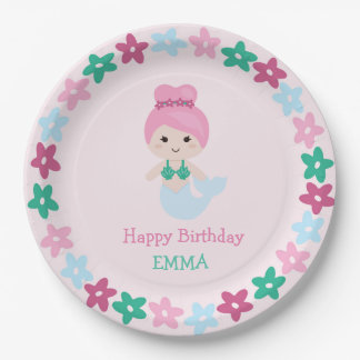 Cute Mermaid Birthday Plate with name 9 Inch Paper Plate