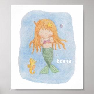 Cute Mermaid Girl and Seahorse Print Poster