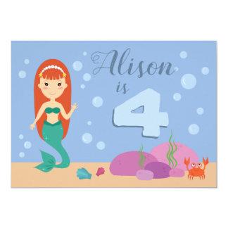 Cute mermaid girl ocean sea summer birthday party card