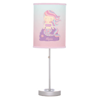 Cute Mermaid Girl Ombre Room Decor Table Lamp