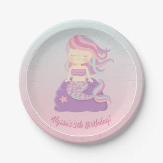 Cute Mermaid Girl Pink Birthday Party Supplies Paper Plate