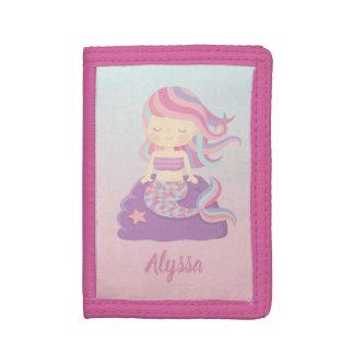 Cute Mermaid Girl Pink Blue Ombre Kids Wallet