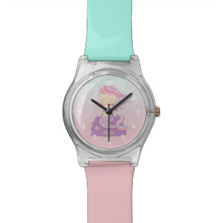 Cute Mermaid Girl Pink Blue Ombre Kids Watch
