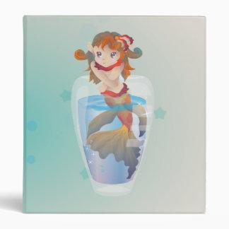 Cute Mermaid in a Glass 3 Ring Binder