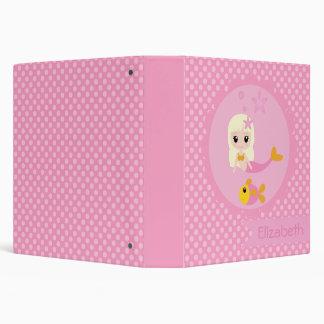 Cute Mermaid in Pink Vinyl Binder